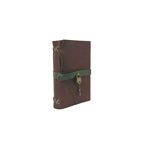 Large hand bound brown leather journal, green accents, antique brass lock and key closure, cannabis connoisseur template
