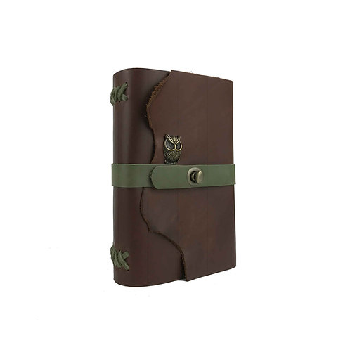 Main image of large brown journal with sage green accents and cute antique brass owl embellishment. Natural leather edges.