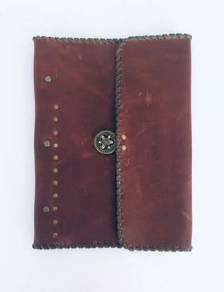 Hand stitched leather photo album