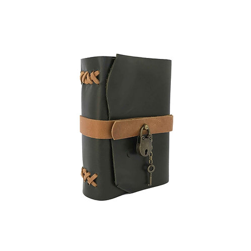 Main image of small dark green hand-bound leather journal with tan accents. Antique brass lock and key closure.
