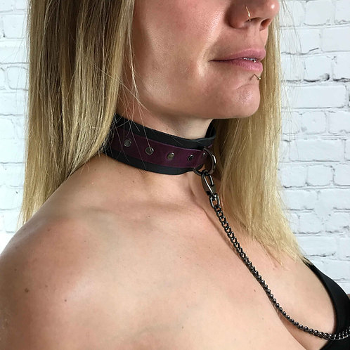 Purple & Black Leather Collar Choker