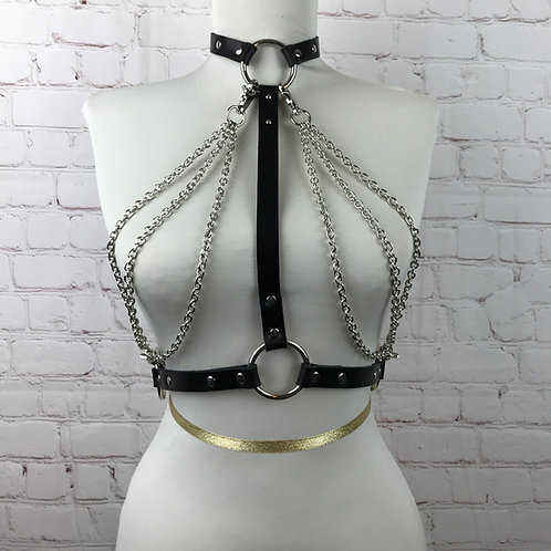 Black Leather & Chain Top