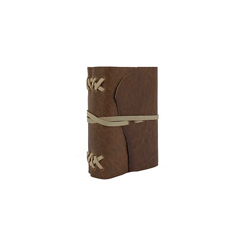 Main image of small brown leather journal. Hand-stitched leather binding and tie closure.