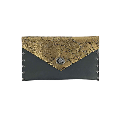 Leather Clutch | Black & Gold