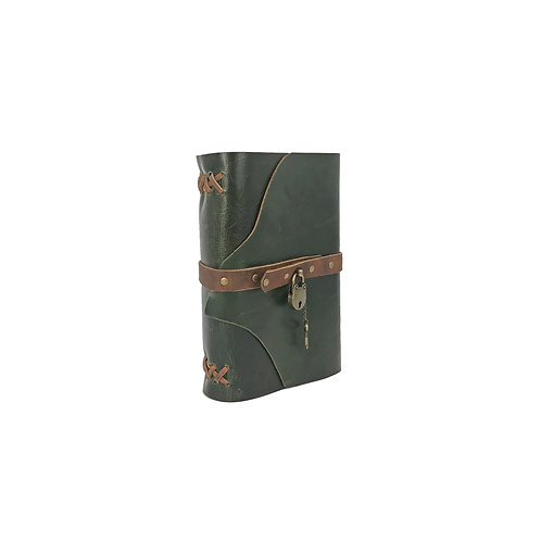 Large hand bound green leather journal, brown accents, antique brass lock and key closure, cannabis connoisseur template