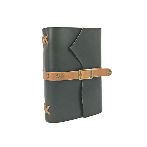 Large green leather journal with tan hand-stitched binding and buckle closure