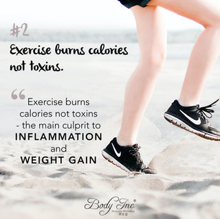 Exercise burns calories not toxins - the main culprit to inflammation and weight gain.