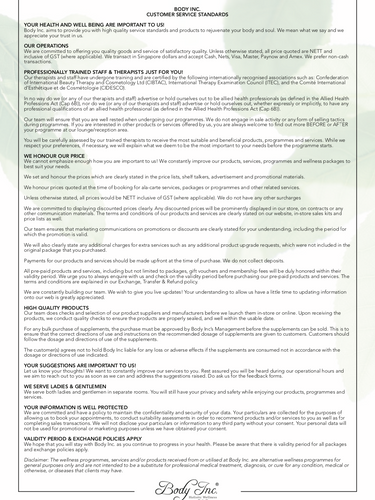 Body Inc. Notice to Customers