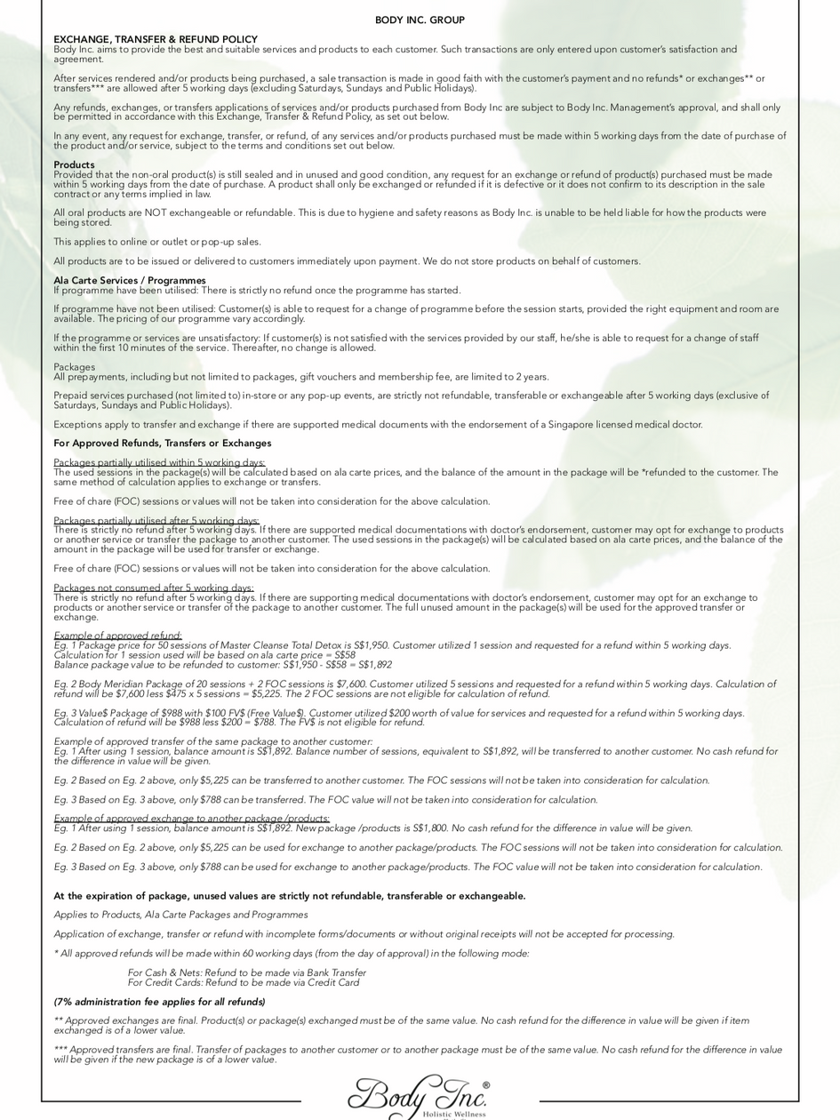 Body Inc. Exchange Transfer Refund Policy