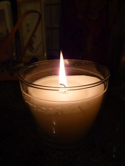 Soothing candlelight for a Reiki treatment