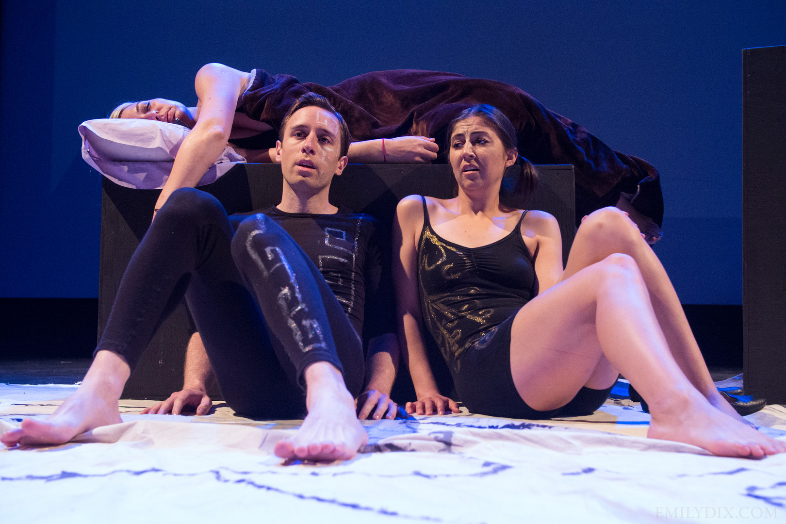 (L-R) Jonas Trottier as Left Brain and Jennifer Busuttil as Right Brain. Photo by Emily Dix.