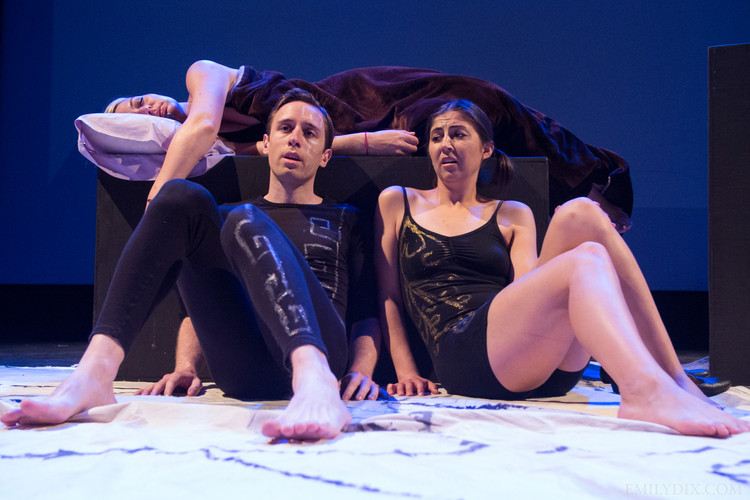 (L-R) Jonas Trottier as Left Brain and Jennifer Busuttil as Right Brain. Photo by Emily Dix.