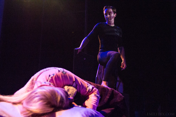 Jonas Trottier as Left Brain (back,) and Hilary Wirachowsky as Allison (front.) Photo by Emily Dix.