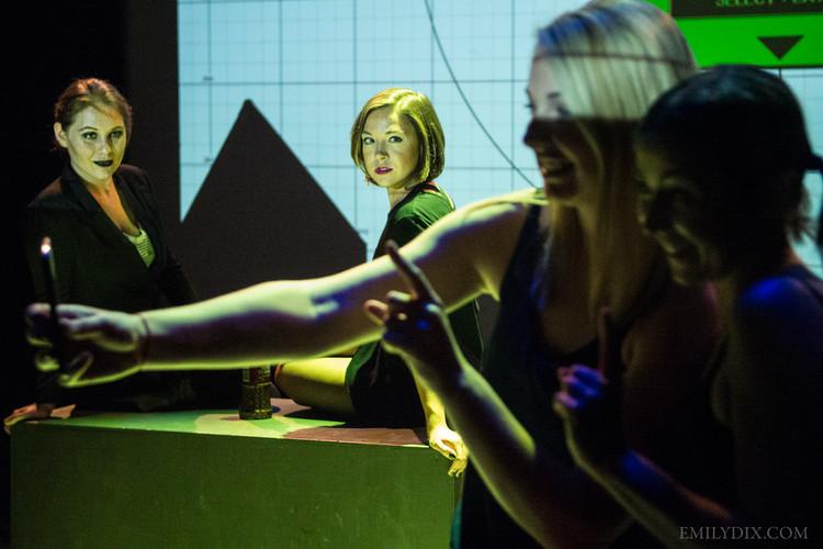 (L-R) Kathryn Geertsema as Anxiety, Catt Filippov as Depression, Hilary Wirachowsky as Allison and Jennifer Busuttil as Right Brain. Photo by Emily Dix.