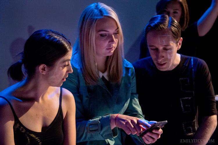 (L-R) Jennifer Busuttil as Right Brain, Hilary Wirachowsky as Allison, and Jonas Trottier as Left Brain. Photo by Emily Dix.