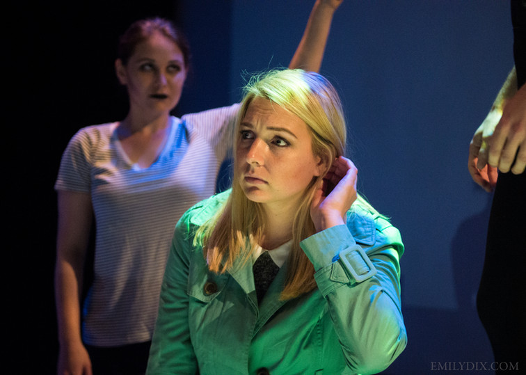 Hilary Wirachowsky as Allison (front) and Kathryn Geertsema as Anxiety (back.) Photo by Emily Dix.