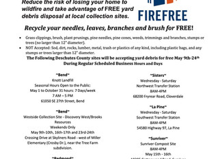 FIREFREE YARD DEBRIS RECYCLING EVENTS FROM MAY 9th - 24th