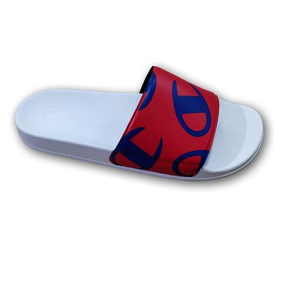 Champion   Slide Allover Logo Mania   כפכפים לנשים   לבן - אדום