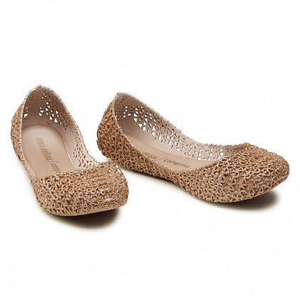 Mini Melissa | Campana Papel | נעלי סירה | בז׳ מנצץ
