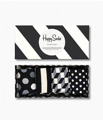 Happy Socks | 41-46 | הפי סוקס | מארז גרביים | שחור לבן קלאסי