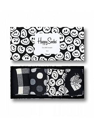 Happy Socks | מארז גרביים | שחור לבן צורות