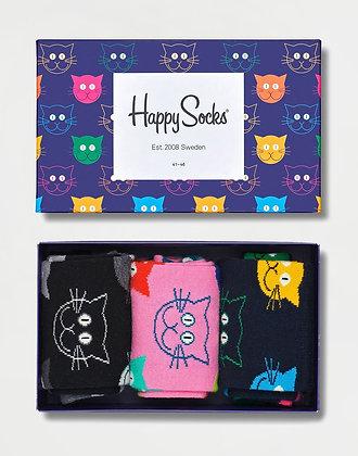 Happy Socks   36-40   הפי סוקס   מארז גרביים   חתולים