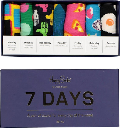Happy Socks | 7-Days | 36-40 | מארז גרביים שבועי