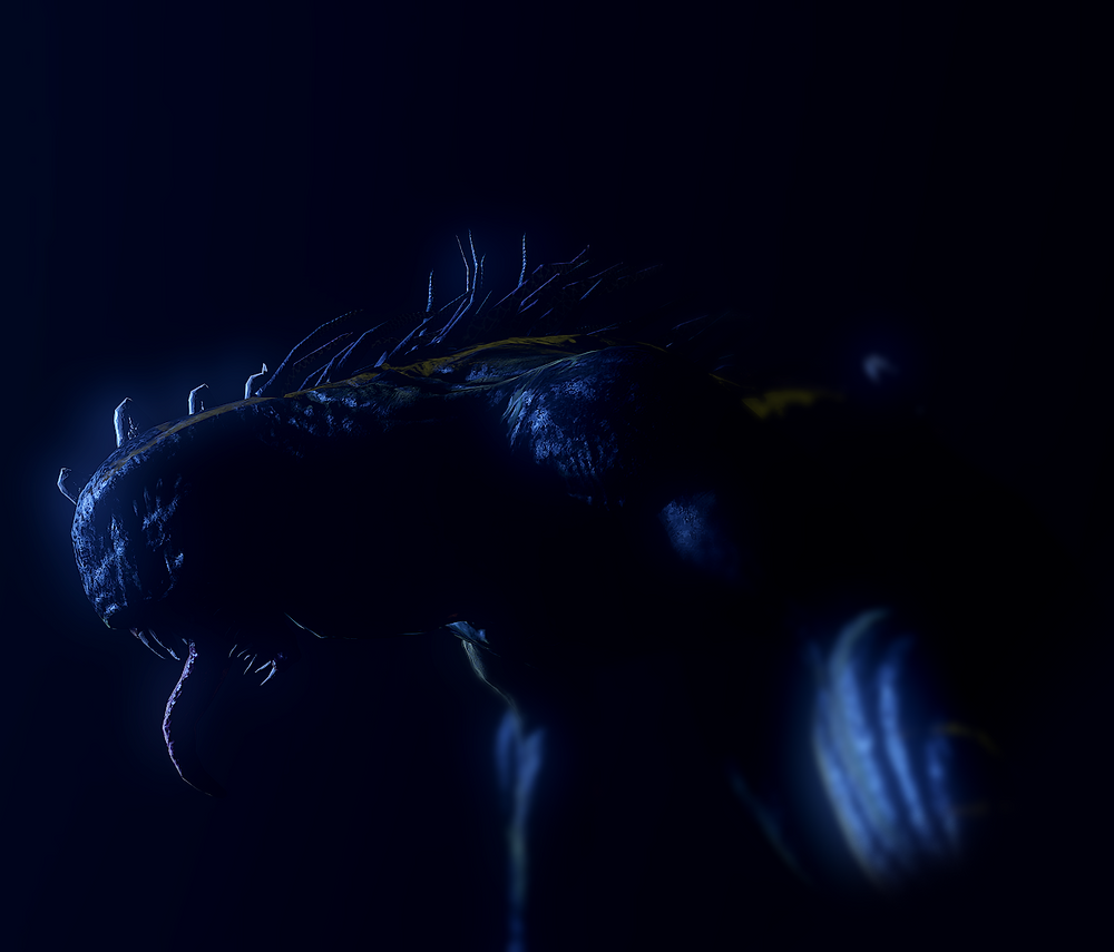 New monster, the Bhagra, in near-darkness. They are side-on and highlighted by dark blue light, that emphasises their tongue, teeth, and spines.