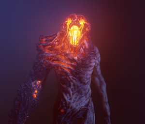 An image of the new Brute model from Monstrum 2, facing towards screen, in dark blue light with a yellow glow permeating out of his face from the lava inside him.