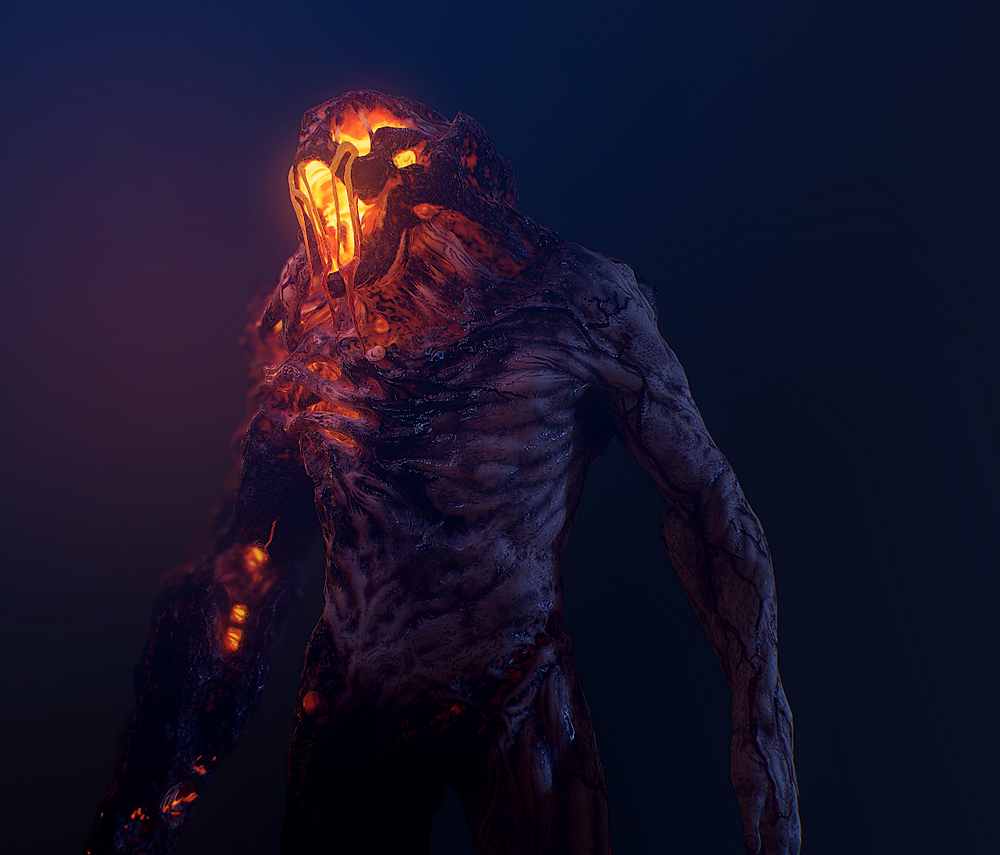 An image of the new Brute model from Monstrum 2, facing to the left of the screen, in dark blue light with a yellow glow permeating out of his face from the lava inside him.