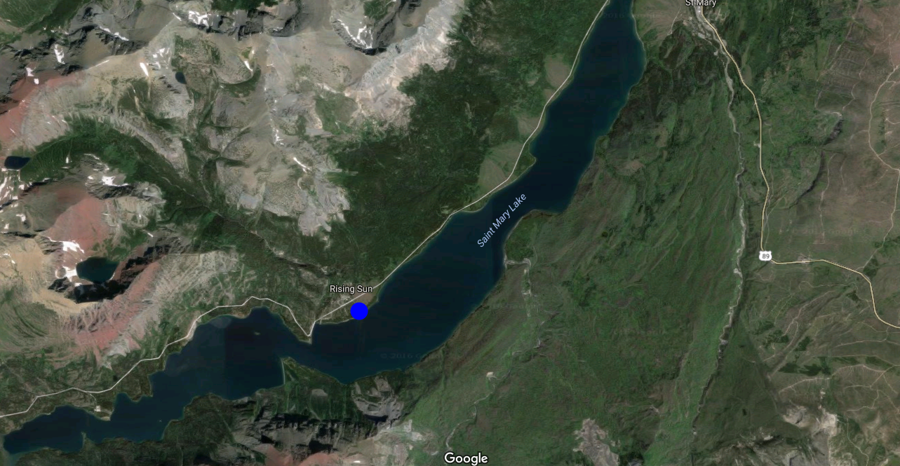 Location on St Mary Lake