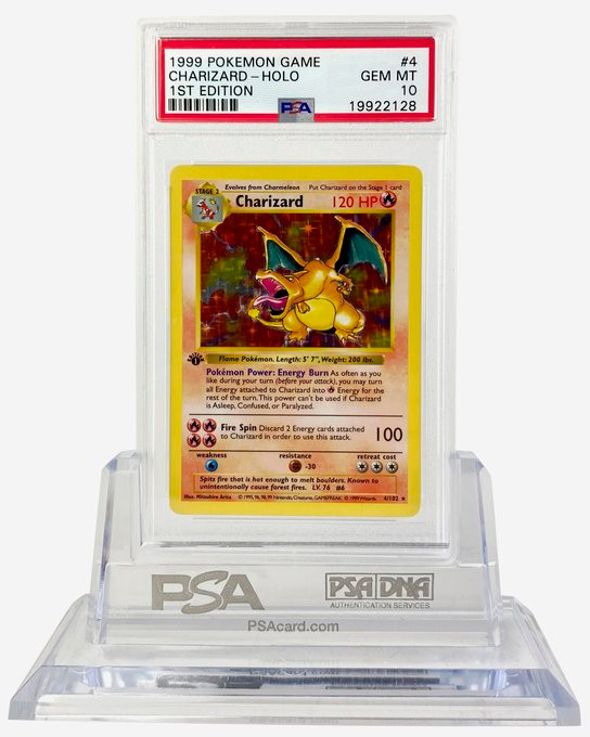 A picture of a PSA 10 1st Edition Charizard with a PSA 10 grade shared by @Cardhops on Twitter