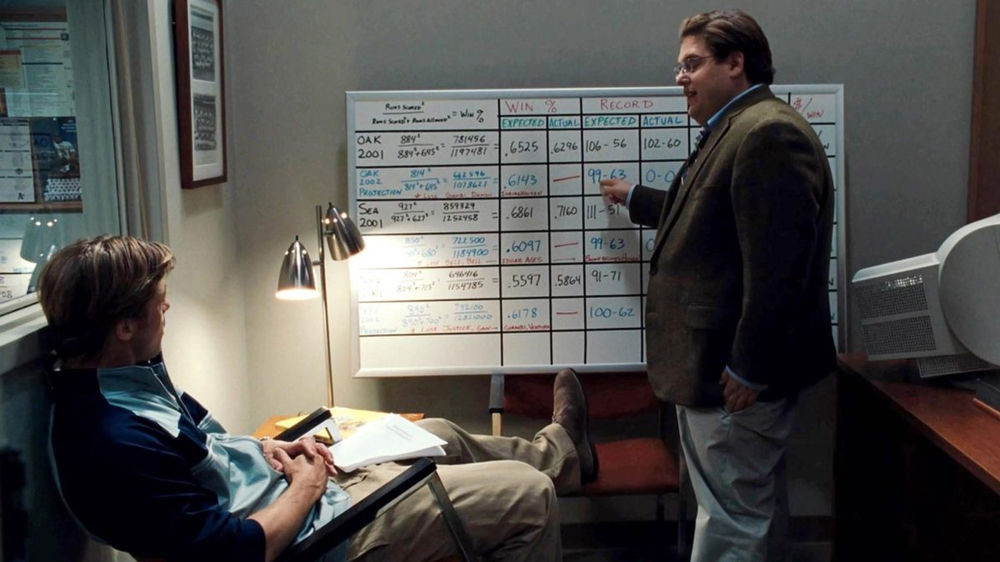 A scene where Peter Brand talks through his analysis on which players are worth buying for the Oakland Athletics.