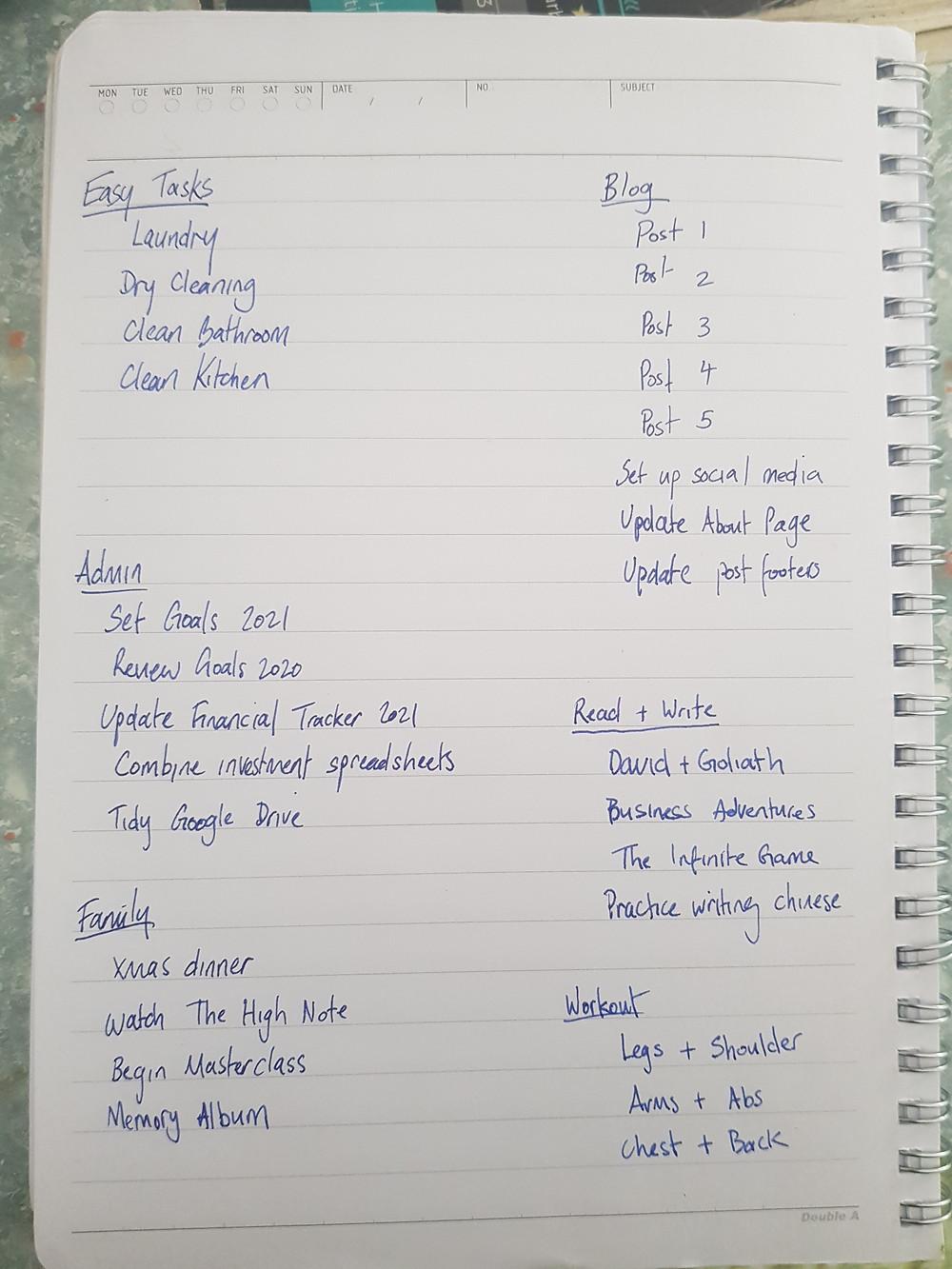 My todo list over the Christmas holiday