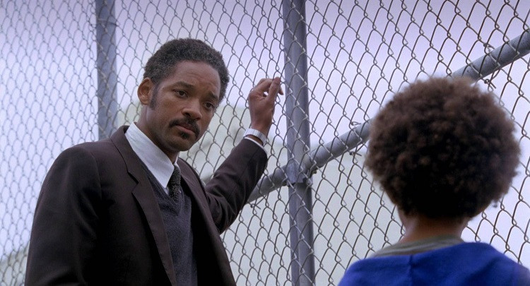 A powerful scene in the film where Gardner tells his son not to give up on the things he wants to go after in life.