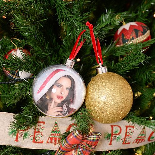 Palla di Natale Big Glitter Gold 10cm con stampa