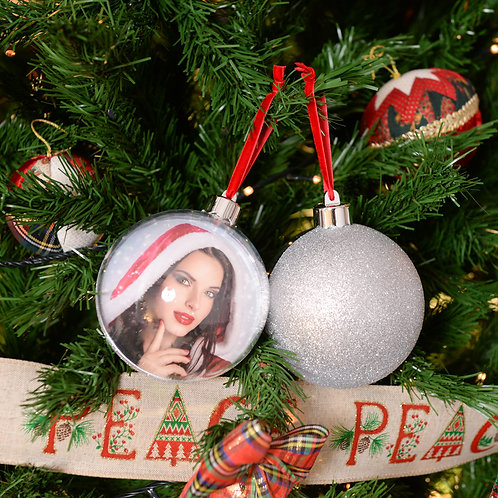 Palla di Natale Big Glitter Silver 10cm con stampa