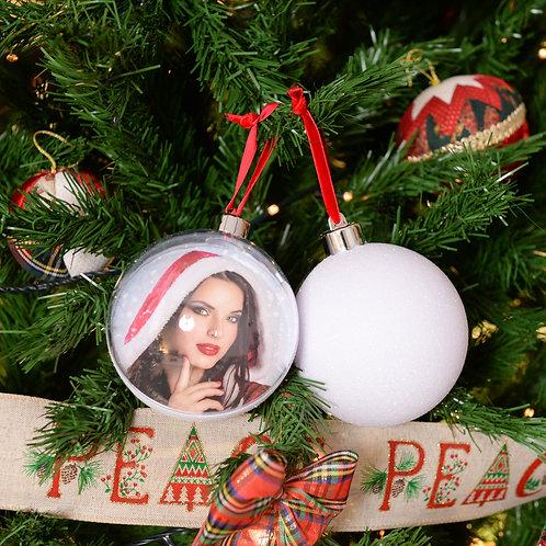 Palla di Natale Big Glitter White 10cm con stampa