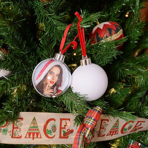Palla di Natale Glitter White 7,5cm con stampa