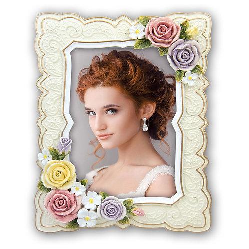 Cornice Visè con fiori in rilievo