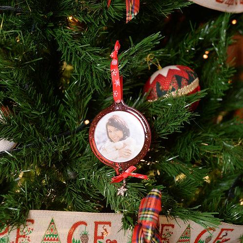 Decoro natalizio in plastica con foto rosso 6,5cm con stampa
