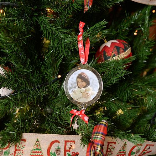 Decoro natalizio in plastica con foto trasparente 6,5cm con stampa