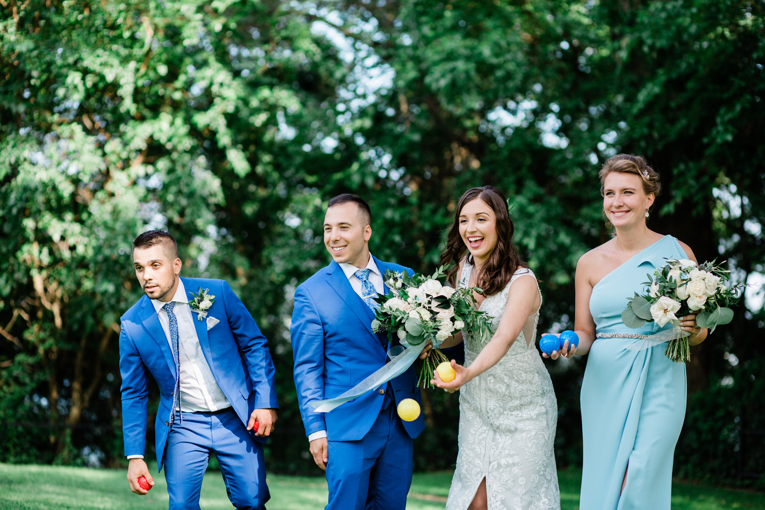 bridal party playing bocce wedding photography