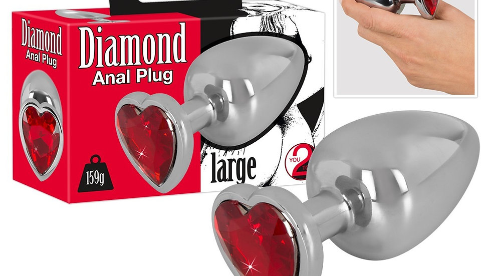 Plug Anal Diamond Coeur Rouge - Large
