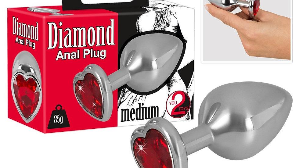 Plug Anal Diamond Coeur Rouge - Medium