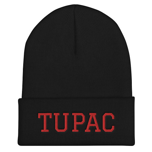 Tupac Beanie (red embroidery)