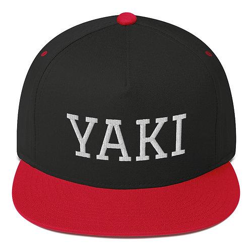 Yaki Flat-bill Snapback (white embroidery)