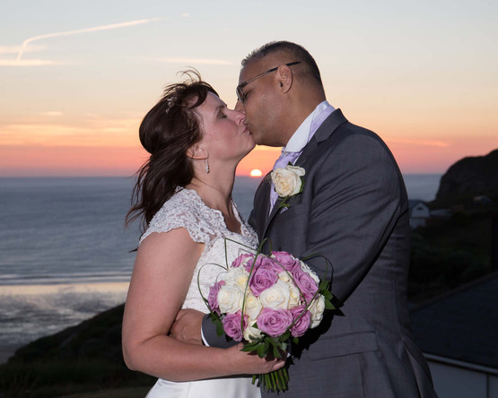 sunset cornwall bride