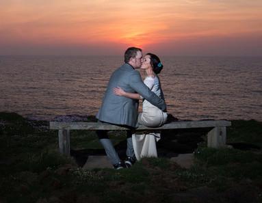 Newquay wedding sunset