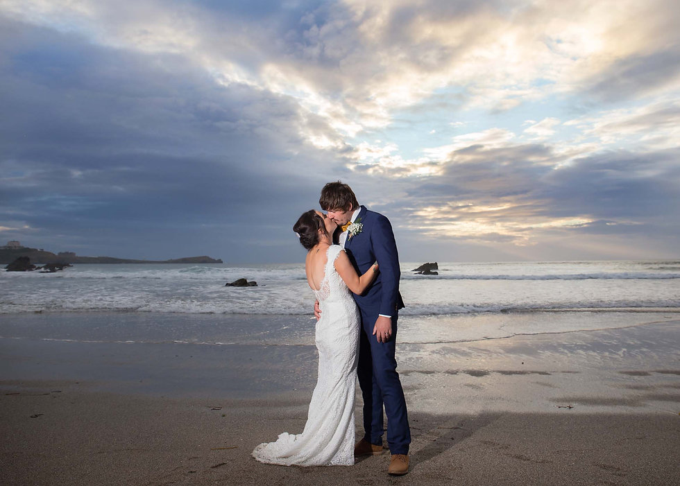 wedding beach sunset cornwall photograph